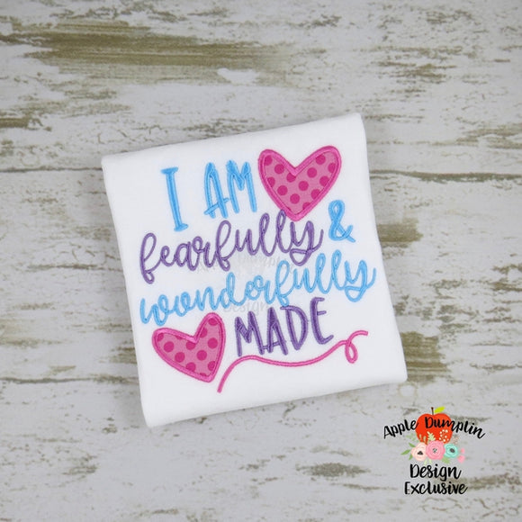 I am Fearfully and Wonderfully Made Applique Design