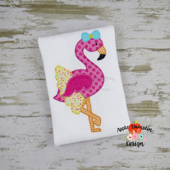 Flamingo with Tutu, Blanket Stitch, Applique Design - embroidery-boutique