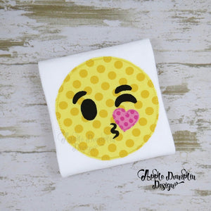 Emoji Kiss Bean Stitch Applique Design - Embroidery Boutique