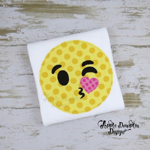 Emoji Kiss Bean Stitch Applique Design, applique