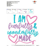 I am Fearfully and Wonderfully Made Applique Design - embroidery-boutique