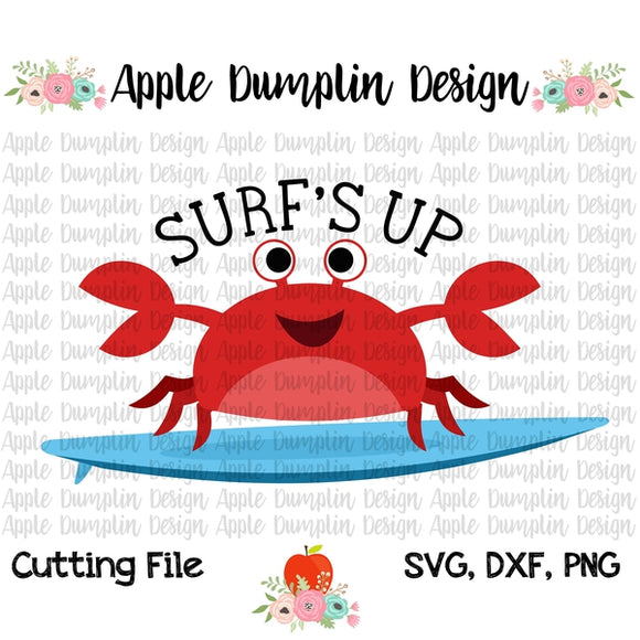 Surf's Up Crab SVG - embroidery-boutique