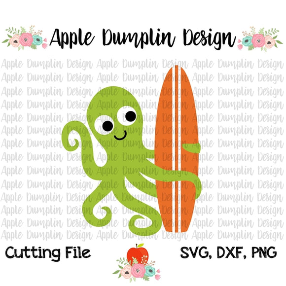 Octopus with Surfboard SVG, SVG