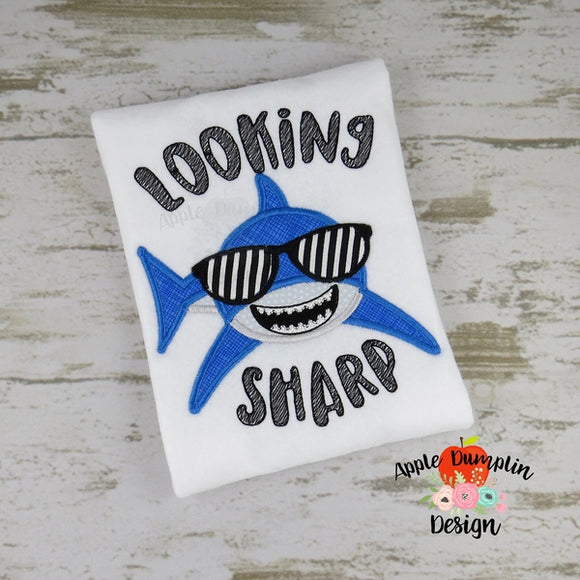 Looking Sharp Shark  Applique Design, - embroidery-boutique