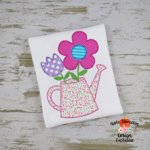 Flowers in Watering Can Blanket Stitch Applique Design - embroidery-boutique