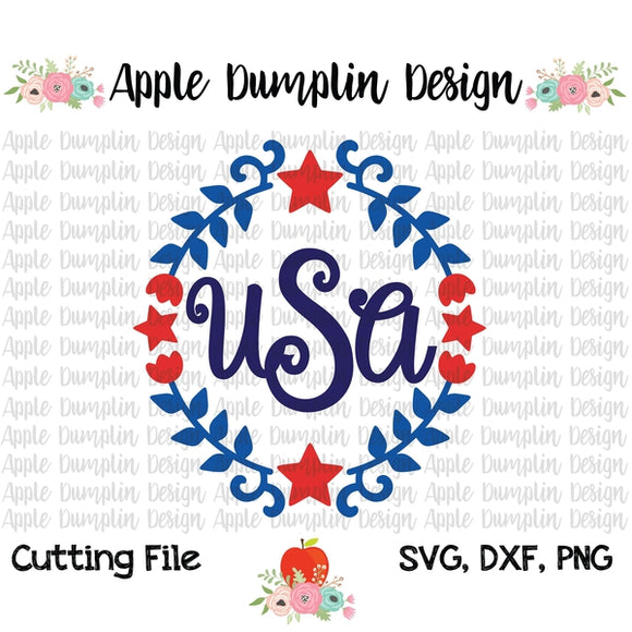 4th of July Wreath SVG