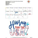 Hooray for the USA Embroidery Design, embroidery