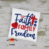 Faith Family Freedom Applique Design