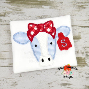 Cow with Bow Applique Design, applique
