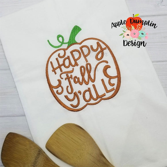 Happy Fall Y'all Embroidery Design - embroidery-boutique