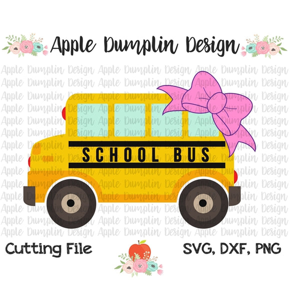 School Bus with Bow SVG