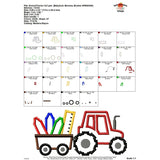 Back to School Tractor Applique Design - embroidery-boutique