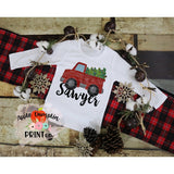Truck with Christmas Tree Watercolor Printable Design PNG - embroidery-boutique