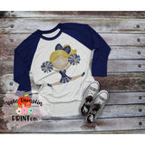 Blonde Cheerleader Blue and Silver Watercolor Printable Design PNG - embroidery-boutique