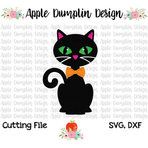 Black Cat with Bowtie SVG - embroidery-boutique