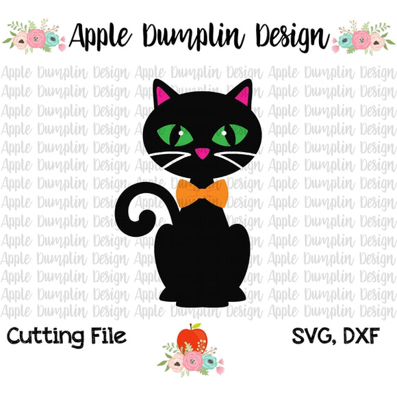 Black Cat with Bowtie SVG