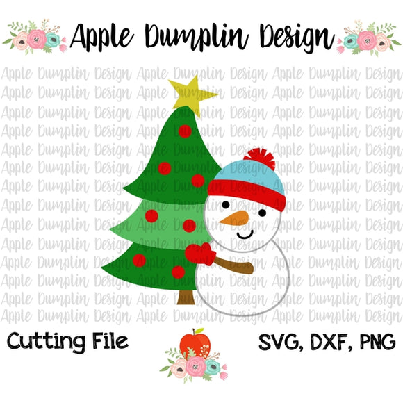 Snowman with Christmas Tree SVG, SVG