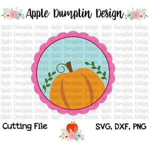 Pumpkin in Scalloped Frame SVG - embroidery-boutique
