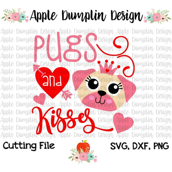 Pugs and Kisses SVG - embroidery-boutique