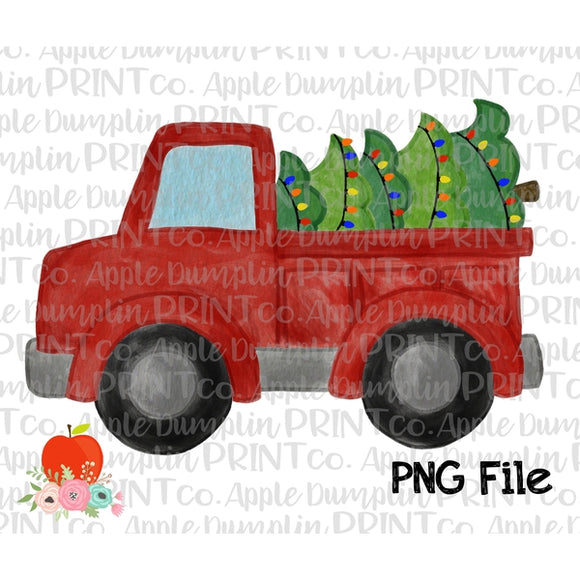 Truck with Christmas Tree Watercolor Printable Design PNG