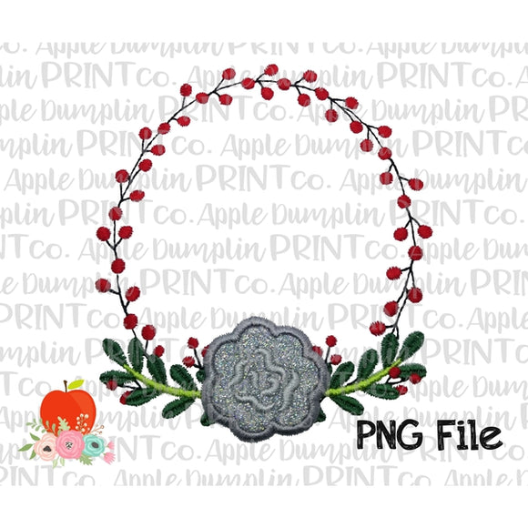 Christmas Berry Wreath Applique Style Printable Design PNG - Embroidery Boutique