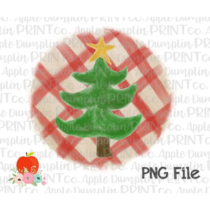Christmas Tree with Star Plaid Watercolor Printable Design PNG