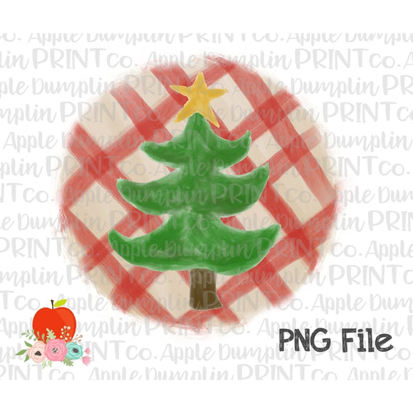 Christmas Tree with Star Plaid Watercolor Printable Design PNG - embroidery-boutique