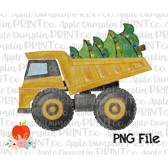 Dump Truck with Christmas Tree Watercolor Printable Design PNG