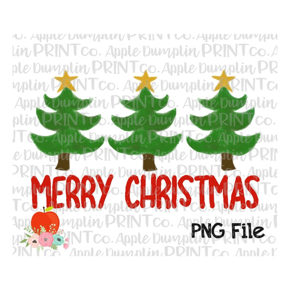 Red Merry Christmas Tree Trio Watercolor Printable Design PNG - embroidery-boutique