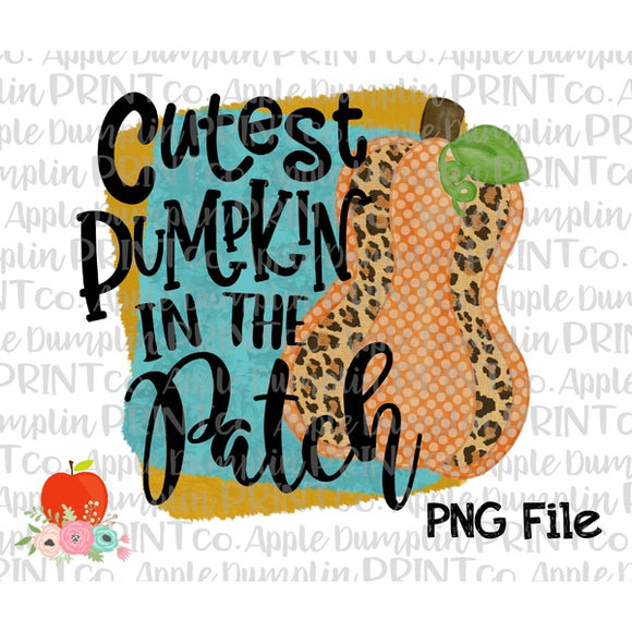 Cutest Pumpkin in the Patch Watercolor Printable Design PNG - Embroidery Boutique