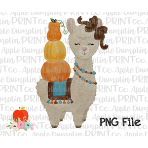 Fall Llama with Pumpkins Watercolor Printable Design PNG - embroidery-boutique