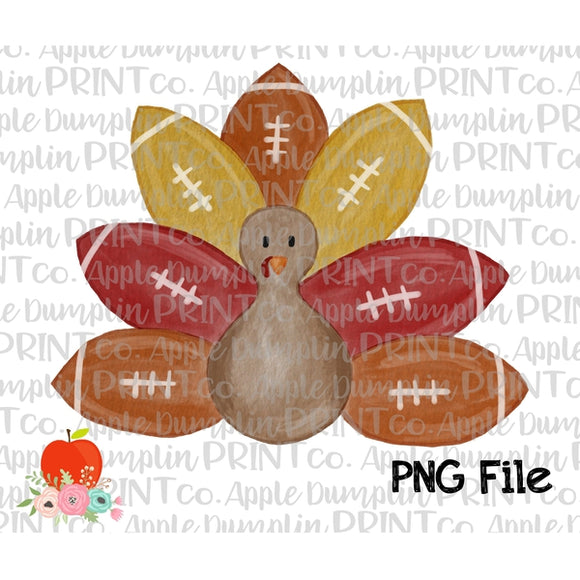 Turkey with Football Feathers Watercolor Printable Design PNG
