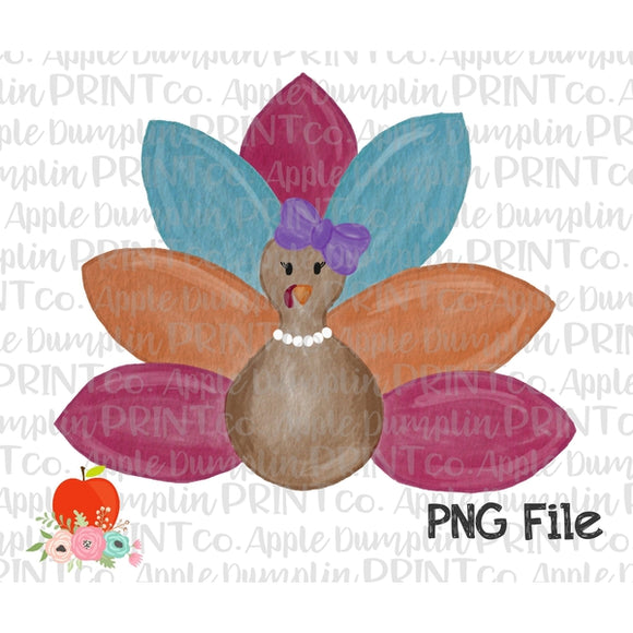 Girl Turkey with Bow Watercolor Printable Design PNG - Embroidery Boutique