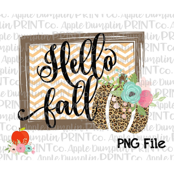 Hello Fall Chevron Frame with Leopard Pumpkin Printable Design PNG - embroidery-boutique
