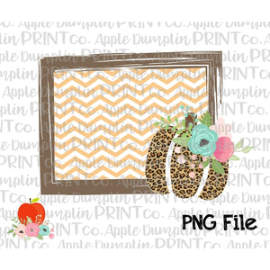 Chevron Frame with Leopard Pumpkin Printable Design PNG - embroidery-boutique
