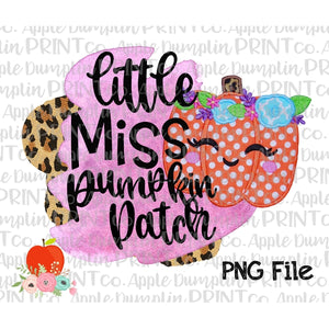 Little Miss Pumpkin Patch Applique Style Printable Design PNG