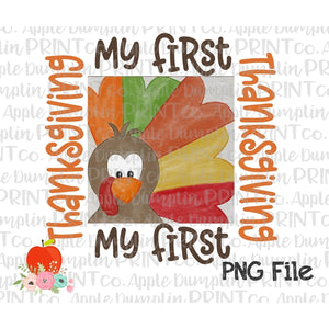 Boy My First Thanksgiving Turkey Watercolor Printable Design PNG