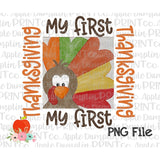Boy My First Thanksgiving Turkey Watercolor Printable Design PNG - embroidery-boutique