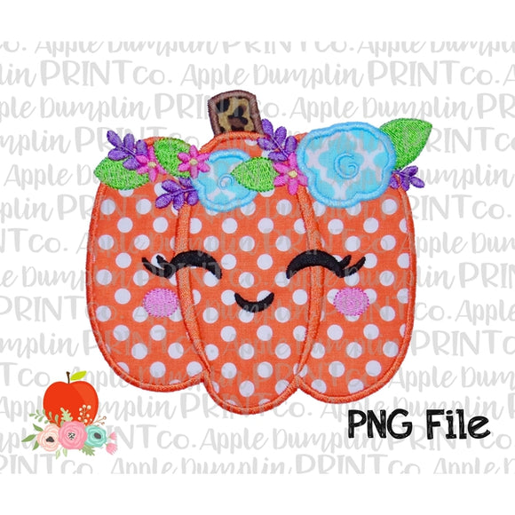 Pumpkin with Flowers and Face Appliqué Style Printable Design PNG