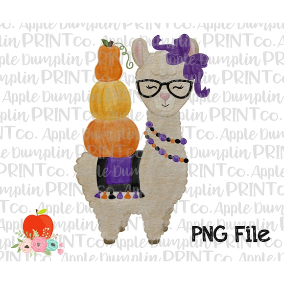 Halloween Llama with Glasses Watercolor Printable Design PNG - Embroidery Boutique