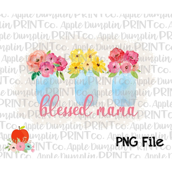 Blessed Mama Mason Jars Grey Polka Dot Background Watercolor Printable Design PNG - embroidery-boutique