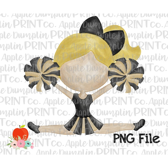 Blonde Cheerleader Black and Gold Water Color Printable Design PNG - embroidery-boutique