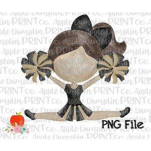 Brunette Cheerleader Black and Gold Watercolor Printable Design PNG