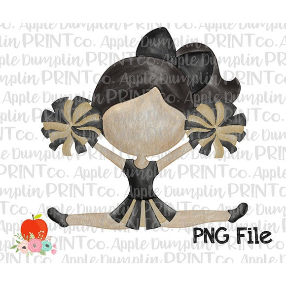 Black Hair Cheerleader Black and Gold Watercolor Printable Design PNG