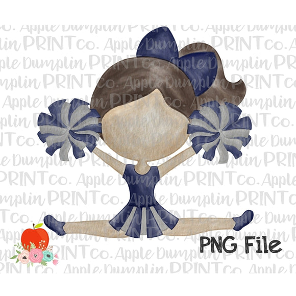 Brunette Cheerleader Blue and Silver Watercolor Printable Design PNG - embroidery-boutique