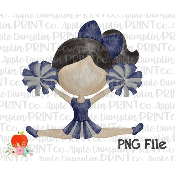 Black Hair Cheerleader Blue and Silver Watercolor Printable Design PNG