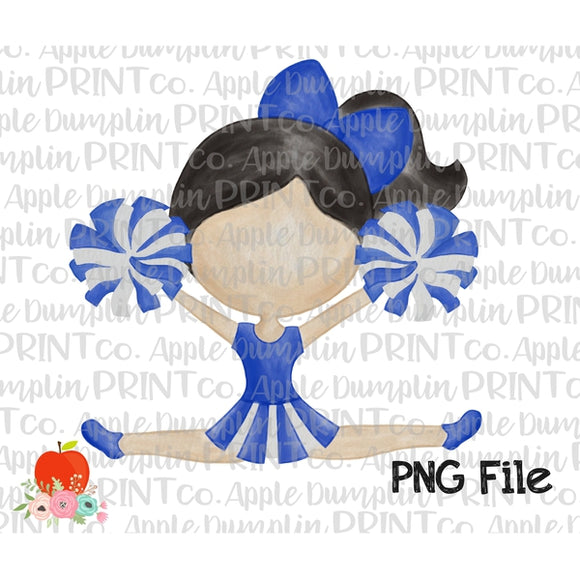 Black Hair Cheerleader Blue and White Watercolor Printable Design PNG - embroidery-boutique