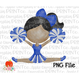 Dark Skin Cheerleader Blue and White Watercolor Printable Design PNG - embroidery-boutique