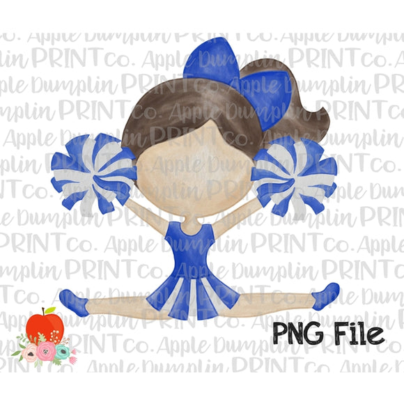Brunette Cheerleader Blue and White Watercolor Printable Design PNG - embroidery-boutique