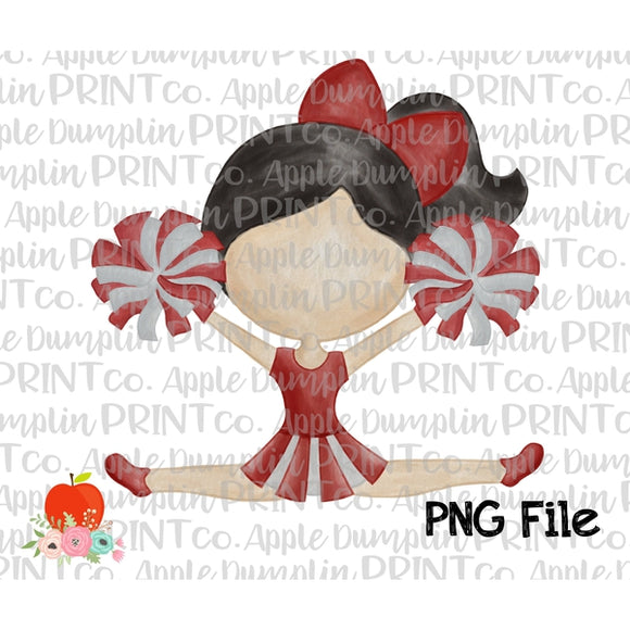 Black Hair Cheerleader Cardinal Red Watercolor Printable Design PNG